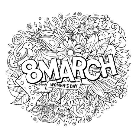 mother day: Cartoon cute doodles hand drawn 8 March inscription. Sketchy det Illustration