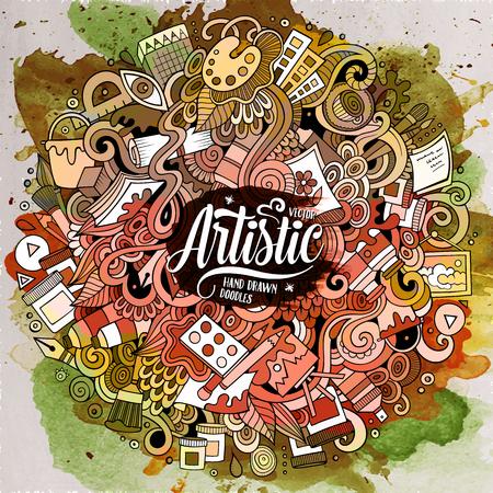Dibujos animados lindo doodles dibujado a mano Ilustración artística Foto de archivo - 71815718