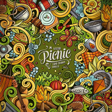 fire surround: Cartoon vector picnic doodle illustration Illustration
