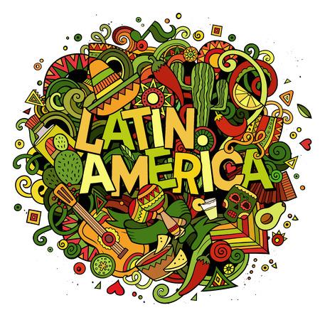 Latin America. Cartoon vector hand drawn Doodle illustration Vektorové ilustrace