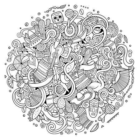 Cartoon hand-drawn doodles Latin American illustration. Line art