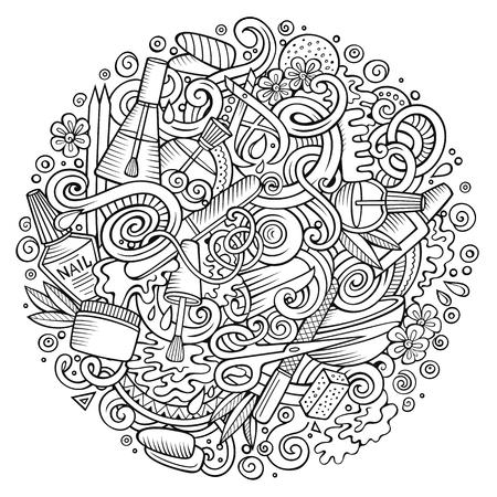 Cartoon doodles Nail salon illustration Illustration