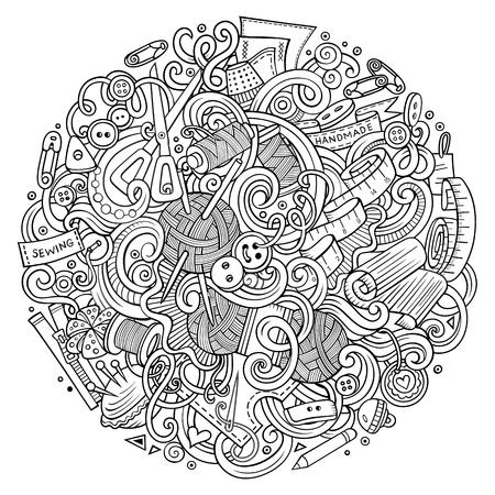 Garabatos lindos de dibujos animados dibujados a mano ilustración hecha a mano Foto de archivo - 72315104