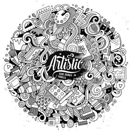 Cartoon cute doodles hand drawn Artistic illustration