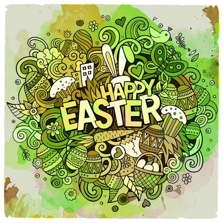 Cartoon vector hand drawn Doodle Happy Easter illustration Illustration