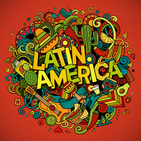 Latin America. Cartoon vector hand drawn Doodle illustration