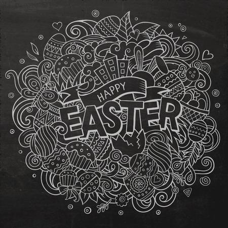 Cartoon vector hand drawn Doodle Happy Easter illustration Illustration