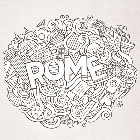Cartoon cute doodles hand drawn Rome inscription Illustration