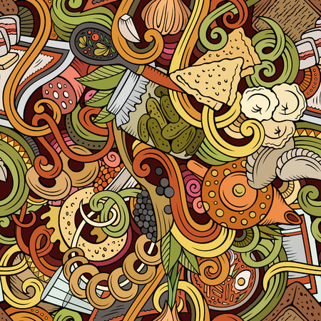 russian cuisine: Cartoon doodles Russian food seamless pattern