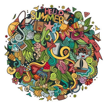 watermelon boat: Doodles abstract decorative summer vector illustration Illustration