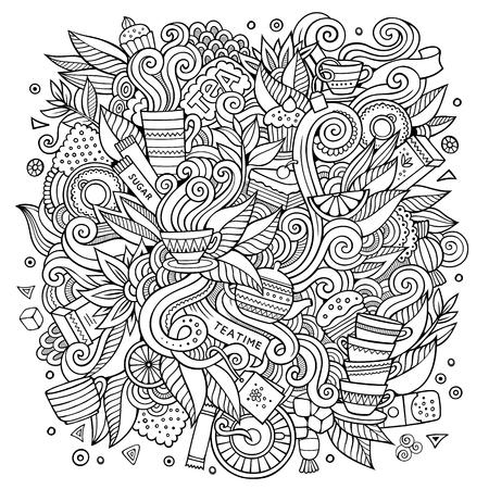 ceylon: Cartoon cute doodles Tea time illustration Illustration