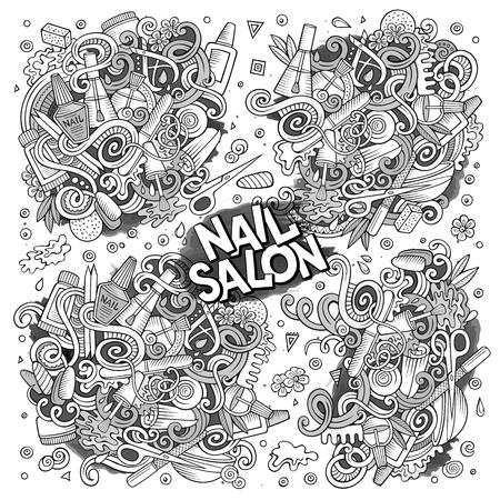 Vector cartoon doodle set of Nail salon designs Illustration