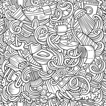 Doodles mignons de bande dessinée Modèle de salle de bain sans couture Vecteurs
