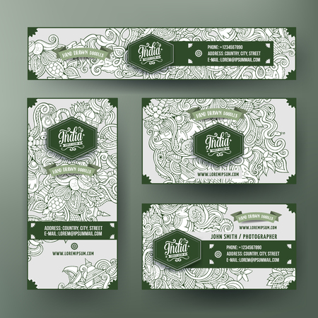 stupa: Corporate Identity vector templates set with doodles India theme