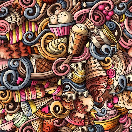 漫画アイス クリームの手描き落書きのシームレス パターン  イラスト・ベクター素材