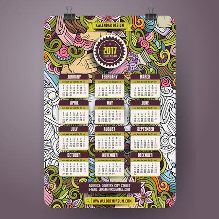 Cartoon doodles Massage 2017 year calendar Illustration