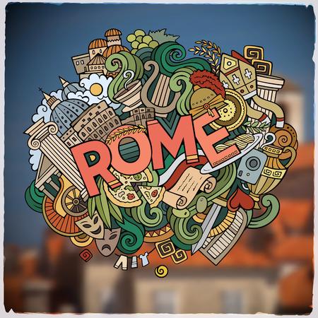 Rome main lettrage et doodles emblème d'éléments et symboles