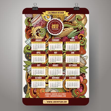 Cartoon doodles Russian food 2017 year calendar Ilustração