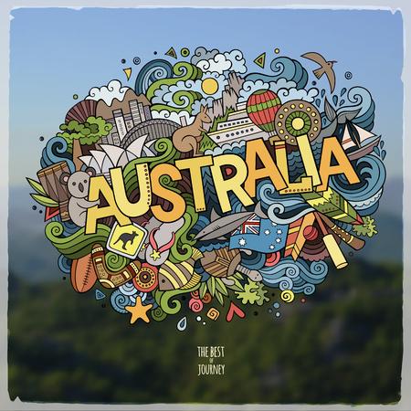Australia hand lettering and doodles elements and symbols emblem