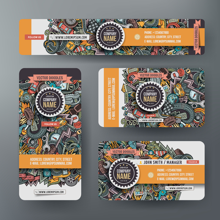 Corporate Identity vector templates set with doodles Automobile theme.