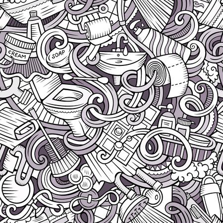 sanitary towel: Cartoon cute doodles Bathroom seamless pattern