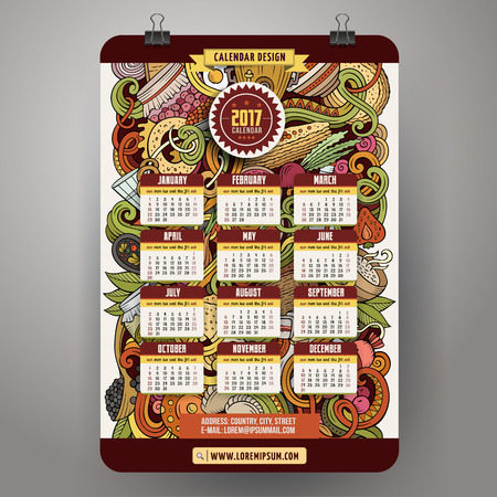 russian cuisine: Cartoon doodles Russian food 2017 year calendar Illustration
