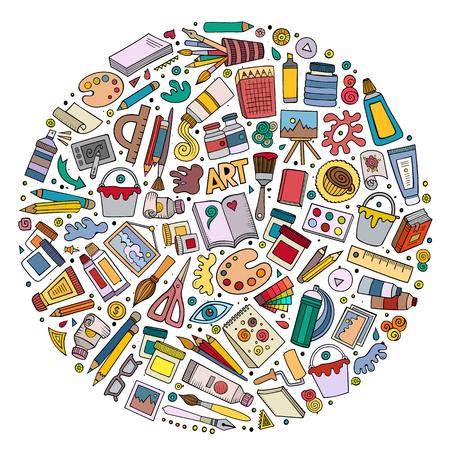 Ensemble de vecteur coloré d'objets de dessin animé Art doodle