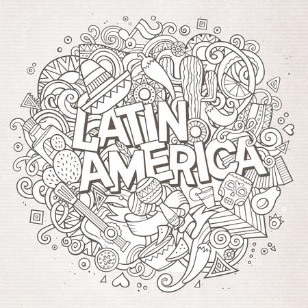 latinoamerica: Latin America. Cartoon vector hand drawn Doodle illustration