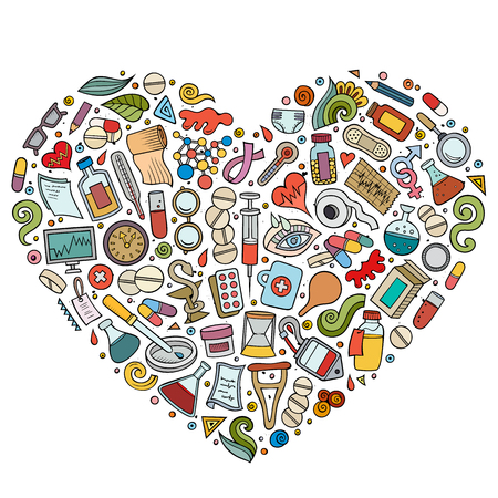 Vector set of Medical cartoon doodle objects Illustration