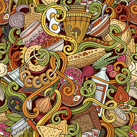 Cartoon doodles Russian food seamless pattern