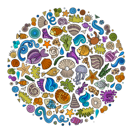 Set of Sealife cartoon doodle objects, symbols and items