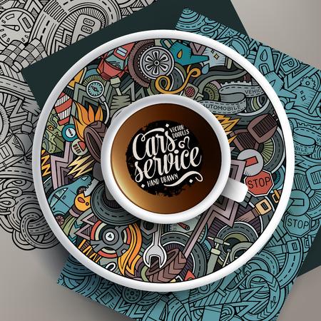 Kopje koffie en auto doodles op een schotel, op papier en op de achtergrond