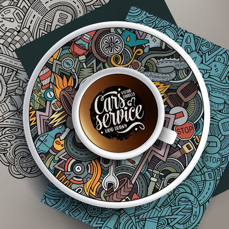 Cup of coffee and Automobile doodles on a saucer, on paper and on the background