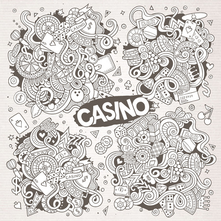 Sketchy vector doodles cartoon set of Casino designs