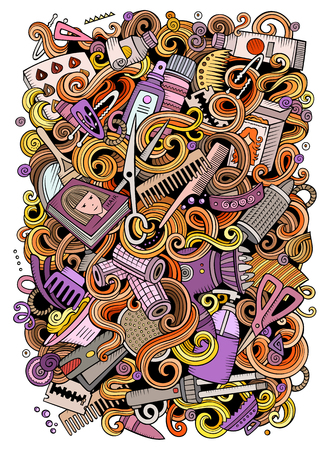 Cartoon doodles Hair salon illustration