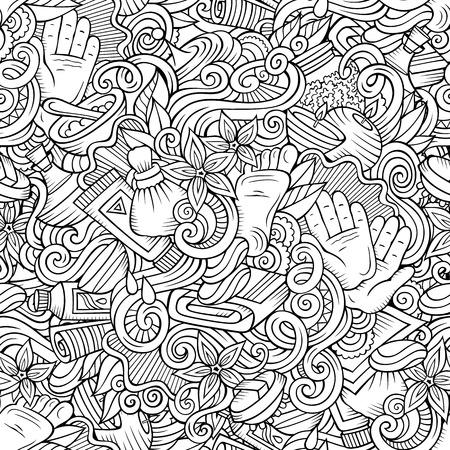 Cartoon cute doodles Spa, Massage seamless pattern