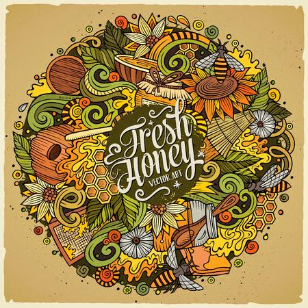 Cartoon cute doodles Honey illustration
