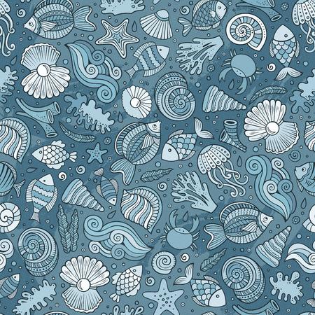 Cartoon under water life seamless pattern
