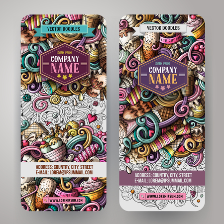 business card template: Cartoon vector doodles ice cream banners