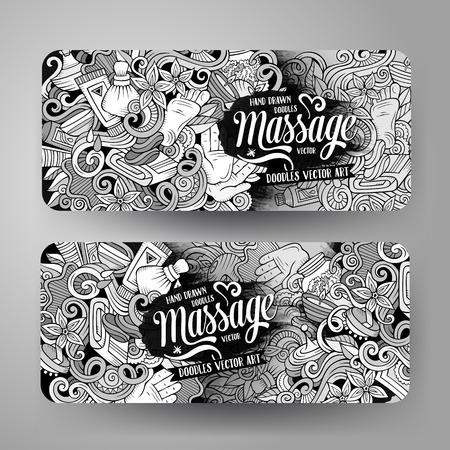 bath treatment: Cartoon doodles Massage salon 2 horizontal banners Illustration