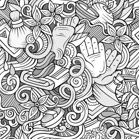 Cartoon cute doodles Spa, Massage seamless pattern