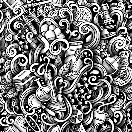 Graphic Science hand drawn artistic doodles seamless pattern