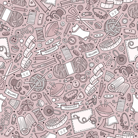 Cartoon cute hand drawn Handmade seamless pattern Illustration