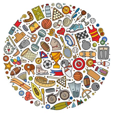 Vector set of Sport cartoon doodle objects Illustration