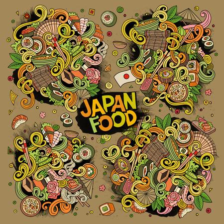 Vector cartoon set of Japan food doodles designs