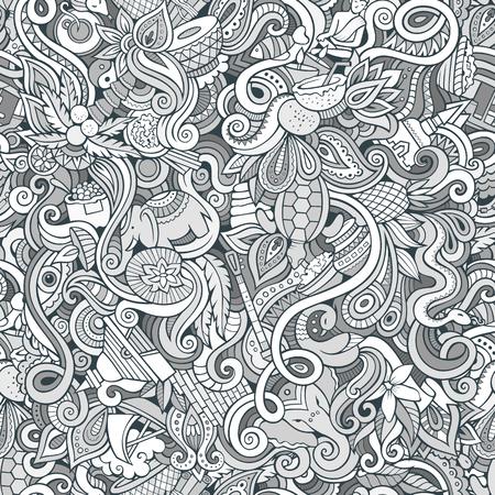 Cartoon cute doodles hand drawn Indian culture seamless pattern