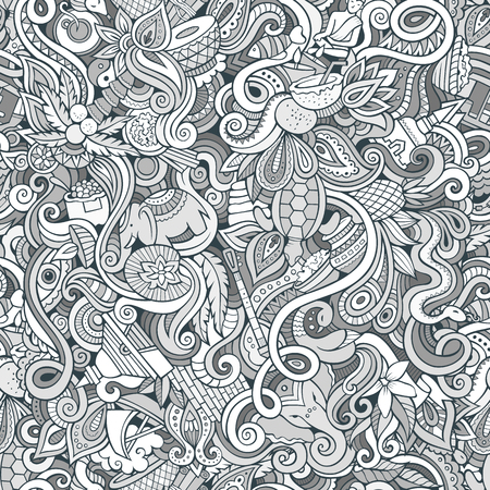 Cartoon cute doodles hand drawn Indian culture seamless pattern Illustration