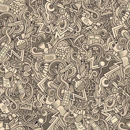 Cartoon cute doodles hand drawn Medical seamless pattern
