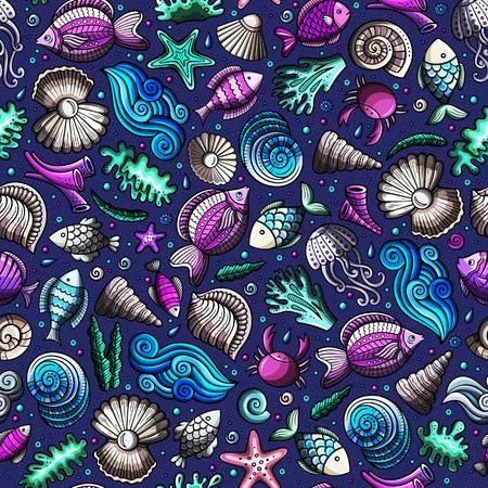 Karikatur unter Wasser Leben nahtlose Muster Standard-Bild - 74216201