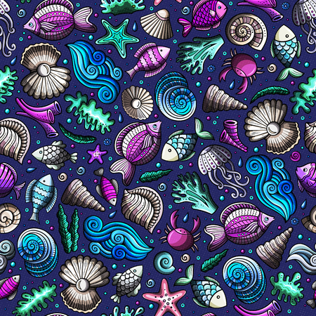 Cartoon under water life seamless pattern